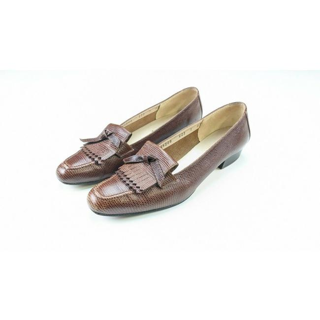 Item - Brown Boutique Womens Leather Snake Cap Toe Pumps Size US 7 Narrow (Aa, N)
