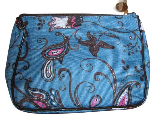 Estée Lauder Estee Lauder blue makeup bag with hot pink/white/black floral design