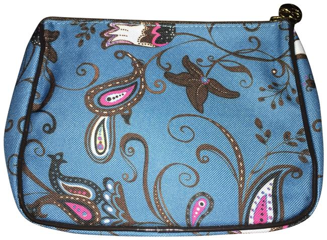 Item - Blue W/Pink and White Floral Design Makeup with Hot Pink/White/Black Cosmetic Bag