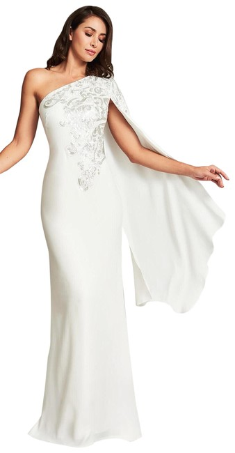 Item - White Hekima Crepe One Shoulder Cape Embroidered Sequin Gown Long Formal Dress Size 4 (S)