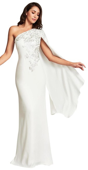 Item - White Hekima Crepe One Shoulder Cape Embroidered Sequin Gown Long Formal Dress Size 8 (M)