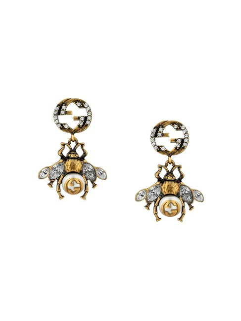 Item - Bee-motif Aged Gold-toned Crystal and Faux-pearl Earrings