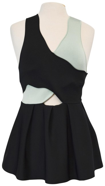 Item - Fit and Flare Size Medium Black & Mint Top