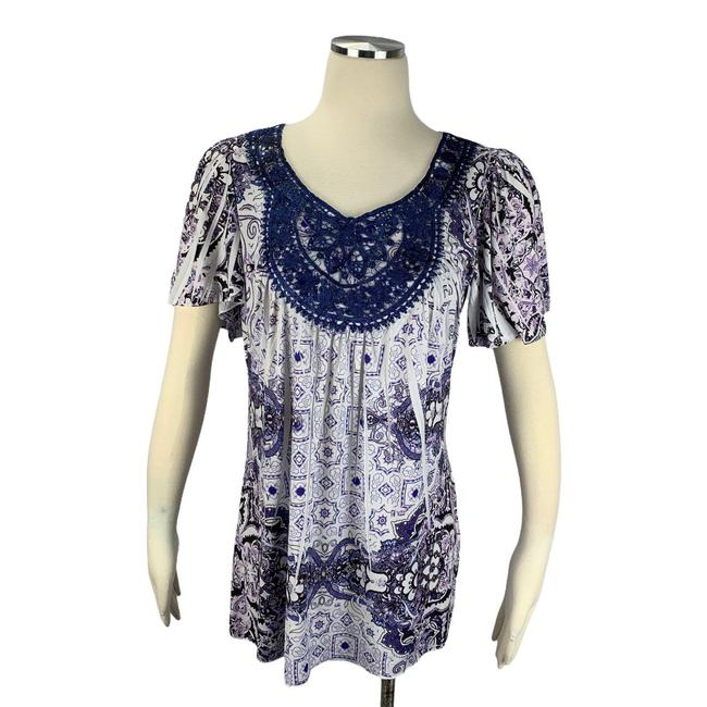 Item - Purple Small Boho Live and Let Live Stretch Blouse Size 6 (S)