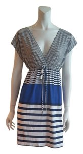 ~S●LD~ Funky People short dress White, Black & Blue striped New With Tags Never Been Worn on Tradesy