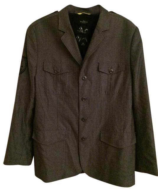 Marc Ecko Cotton Pinstripe Print Pockets Polyester Dry Clean Charcoal with Black Blazer
