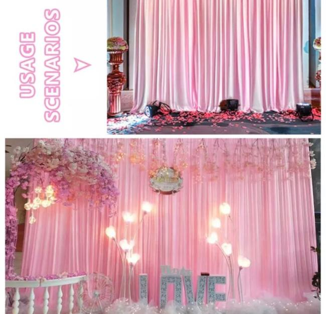 Item - 8 Colors 10x10ft Ice Silk Backdrop Curtain For Ceremony Photography Banquet Party Reception Decoration