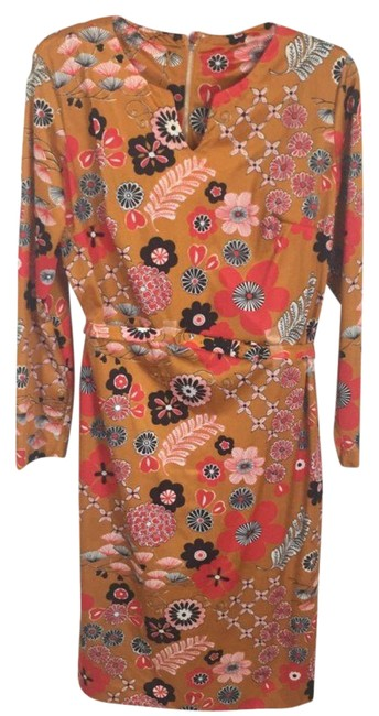 Item - Red L 60s Floral Psychedelic Mod Maxi Boho Flower Power Short Casual Dress Size 14 (L)