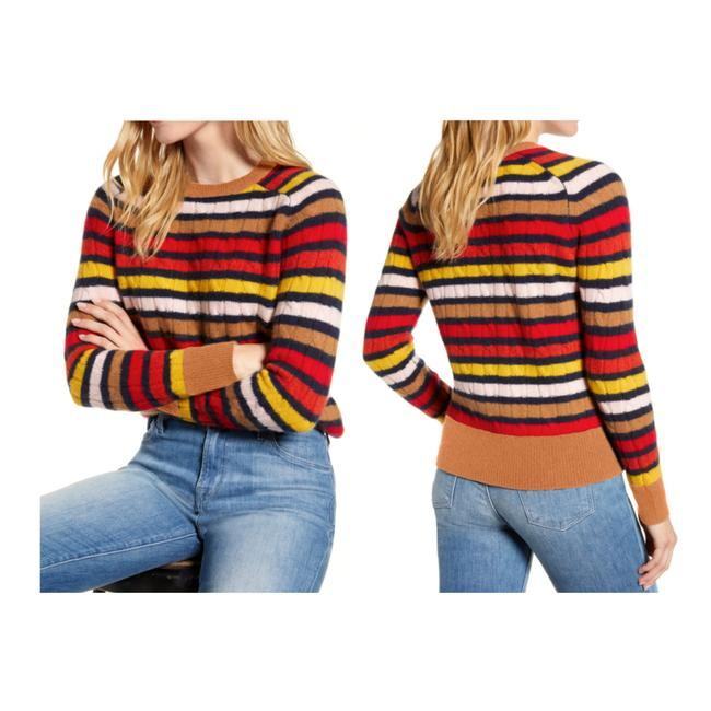 Item - XL New 1901 Cashmere Cable Knit Crewneck Multi Stripe Red Sweater