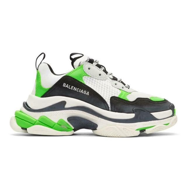 Item - Black/Green/White Triple S Clear Sole Leather Mesh Sneakers Size EU 40 (Approx. US 10) Regular (M, B)