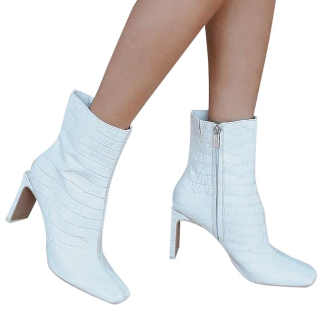 Item - White Kelsie Croc Leather Square Zip Mid Calf Boots/Booties Size US 8.5 Regular (M, B)