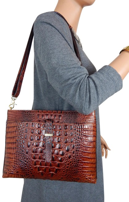 Item - All Day Convertible Pecan Melbourne Ipad Holder Brown Leather Cross Body Bag