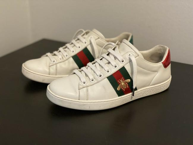 Item - White Women`s Ace Embroidered Leather Low Top Sneakers Size EU 37.5 (Approx. US 7.5) Regular (M, B)
