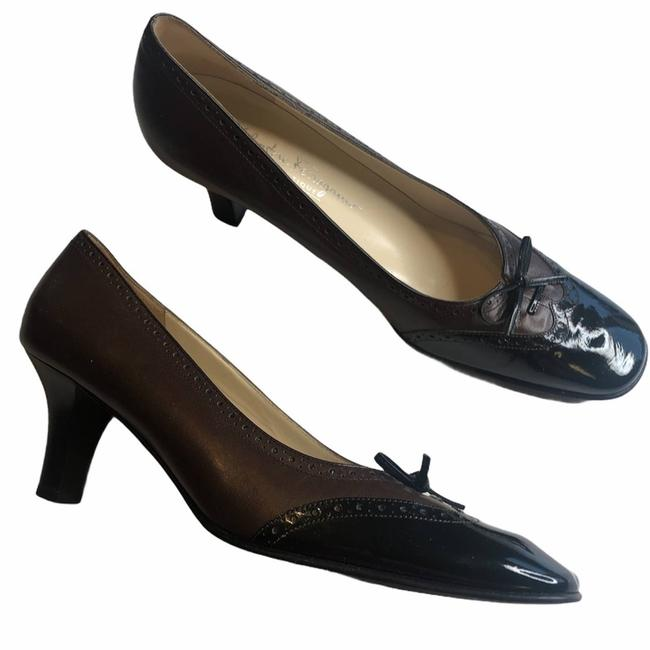 Item - Brown Black Vintage Inspired Patent Bow Pumps Size US 9 Narrow (Aa, N)