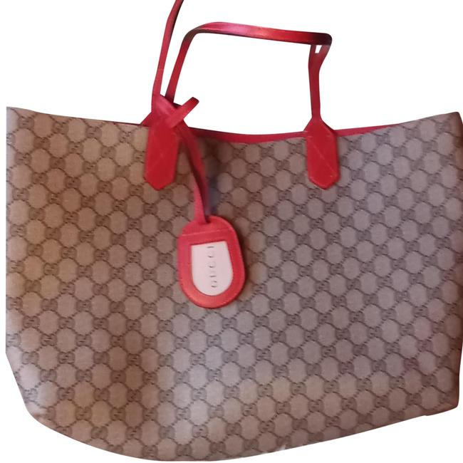 Item - Reversible Bag Gg Red Leather Tote