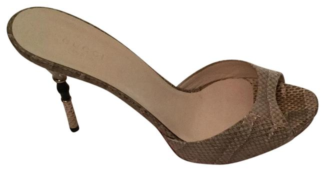 Item - Gray Python Leather Stiletto with Bamboo Accents Heel Sandals / Formal Shoes Size EU 38.5 (Approx. US 8.5) Regular (M, B)