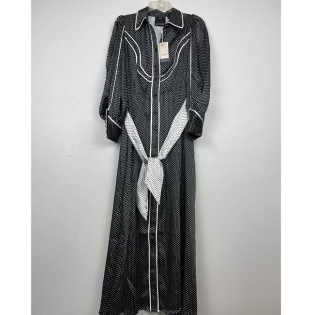 C/meo Collective Black Polka Dot Belted Shirt Long Casual Maxi Dress Size 2 (XS) C/meo Collective Black Polka Dot Belted Shirt Long Casual Maxi Dress Size 2 (XS) Image 3