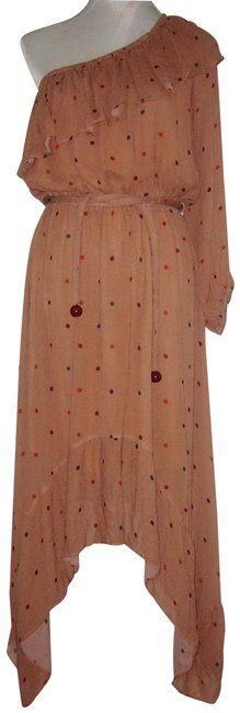 Item - Brown Anthropologie Beige Dots One Shoulder Long Casual Maxi Dress Size 10 (M)