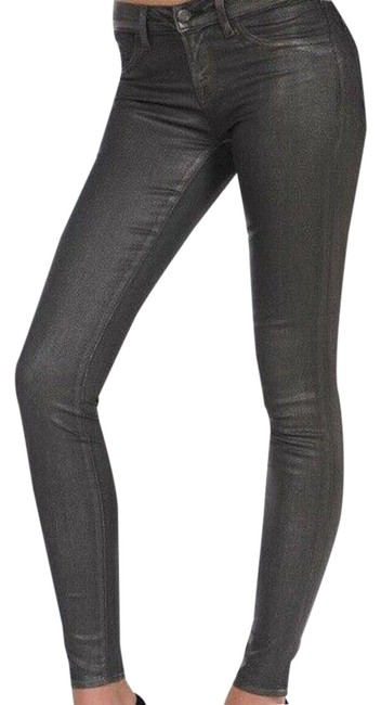 Item - Silver Coated Metallic Skinny Jeans Size 28 (4, S)