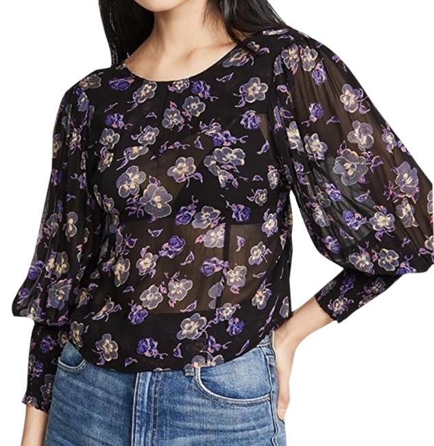 Item - Black Floral Puff Sleeve Laced Blouse Size 2 (XS)