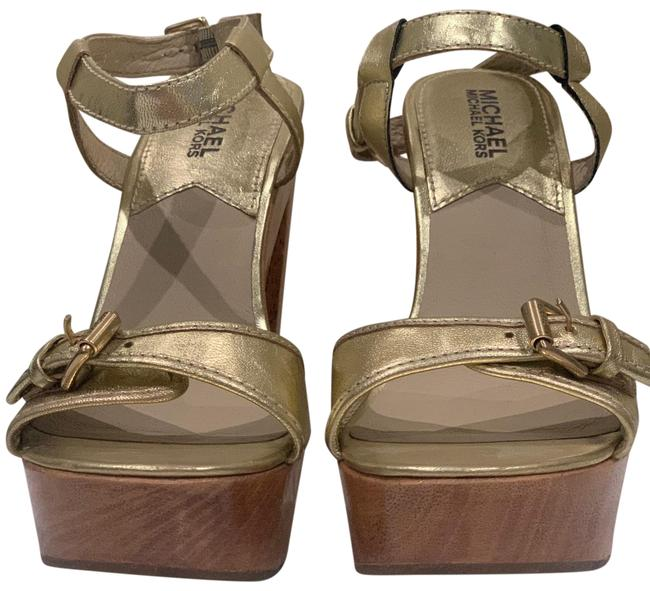 Item - Gold and Wood Platforms Size US 7 Narrow (Aa, N)
