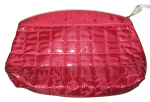 Other Lancome red quilted cosmetic bag with silver Eiffel Towel charm zipper