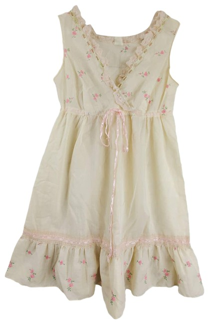 Item - Cream Cottagecore Lolita Babydoll Floral Tiered V-neck Short Casual Dress Size 4 (S)