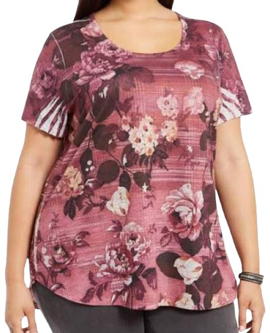 Item - Red Floral Printed Short Sleeve T-shirt 1x Blouse Size 16 (XL, Plus 0x)