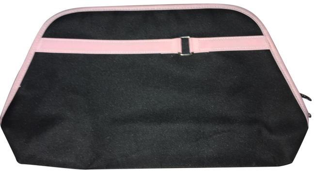 Lancome Black W/Light Pink Trim Clutch W/Light and Silver Buckle Bag/Clutch Cosmetic Bag Lancome Black W/Light Pink Trim Clutch W/Light and Silver Buckle Bag/Clutch Cosmetic Bag Image 1