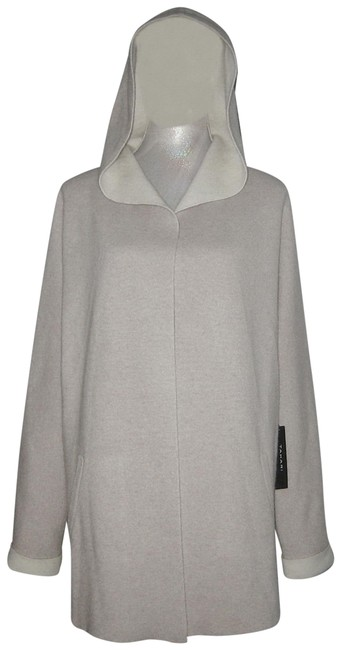 Item - Beige Ivory L Luxe Cashmere Open Front Double Face Cardigan Size 12 (L)