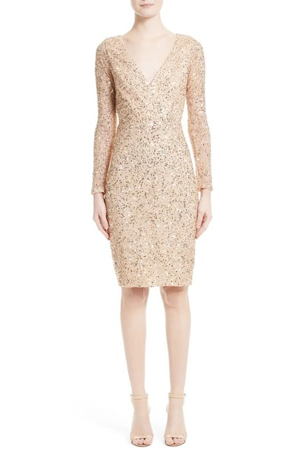 Item - Gold Long Sleeve Sequin Bodycon Mid-length Cocktail Dress Size 8 (M)