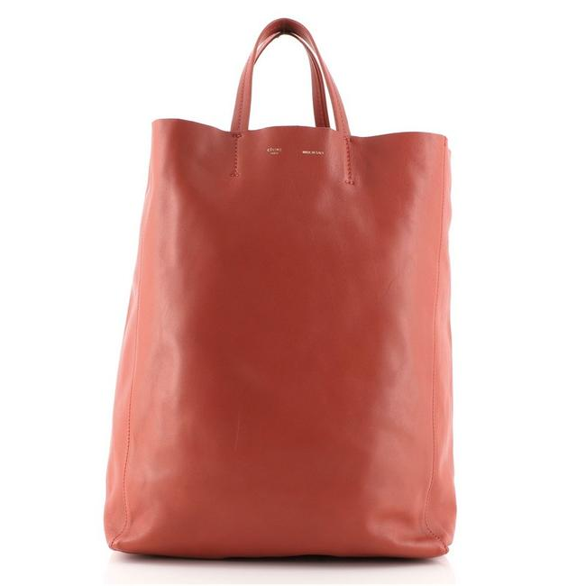Item - Vertical Cabas Large Red Leather Tote