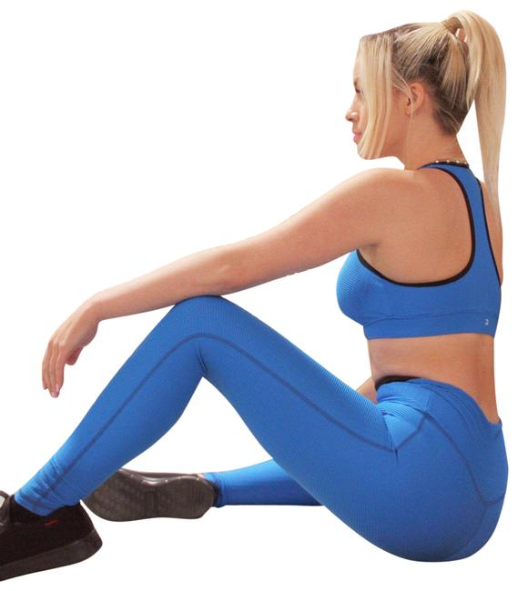Item - Blue Sale 50% Off Positano Sports Bra - Aqua [made In Italy] - Activewear Bottoms Size 6 (S, 28)