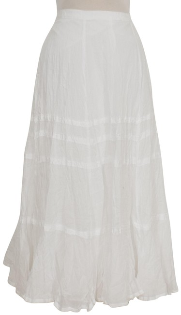 Item - White Crinkle Cotton Voile Broomstick Tiered Skirt Size 14 (L, 34)