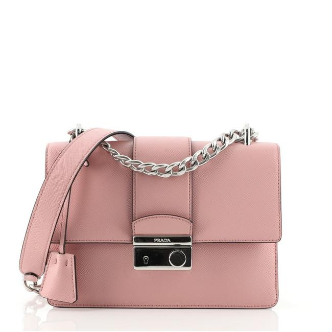 Item - Sound Chain Saffiano Small Pink Leather Shoulder Bag