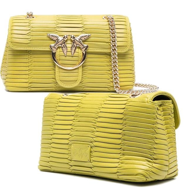 Item - Pintucked Lime Green Leather Cross Body Bag