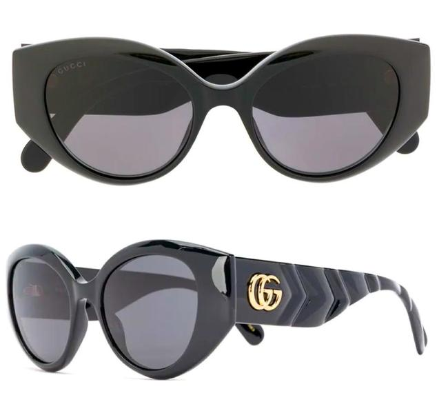Item - Black / Gold 0809s - 001 Thick Rim Oval Quilted Sunglasses