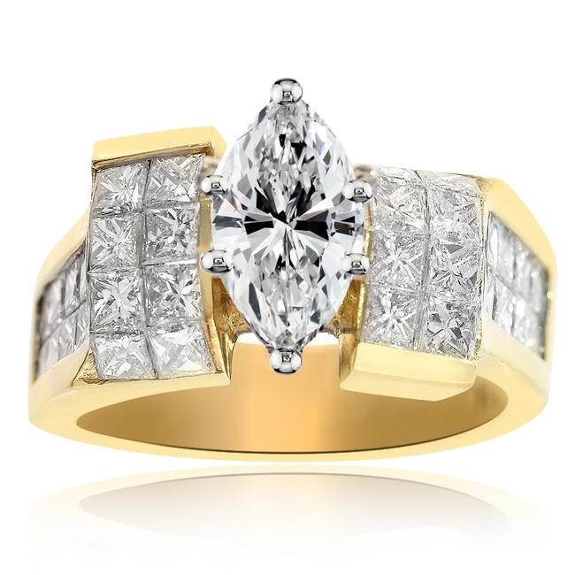 Item - 14k Yellow Gold 2.78 Carat F-si1 Natural Marquise Cut Diamond Engagement Ring