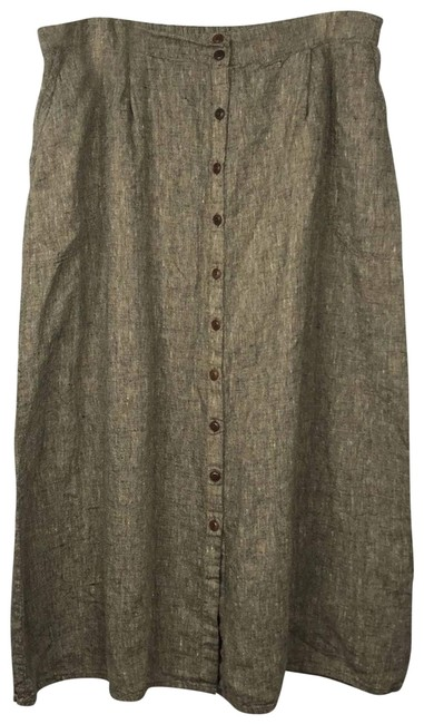 Item - Brown Linen Button Down Tweed Skirt Casual Maxi Dress Size 26 (Plus 3x)