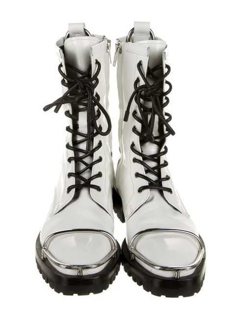 Item - White Black Kennah Spazzolato Patent Leather Combat Boots/Booties Size US 5.5 Narrow (Aa, N)