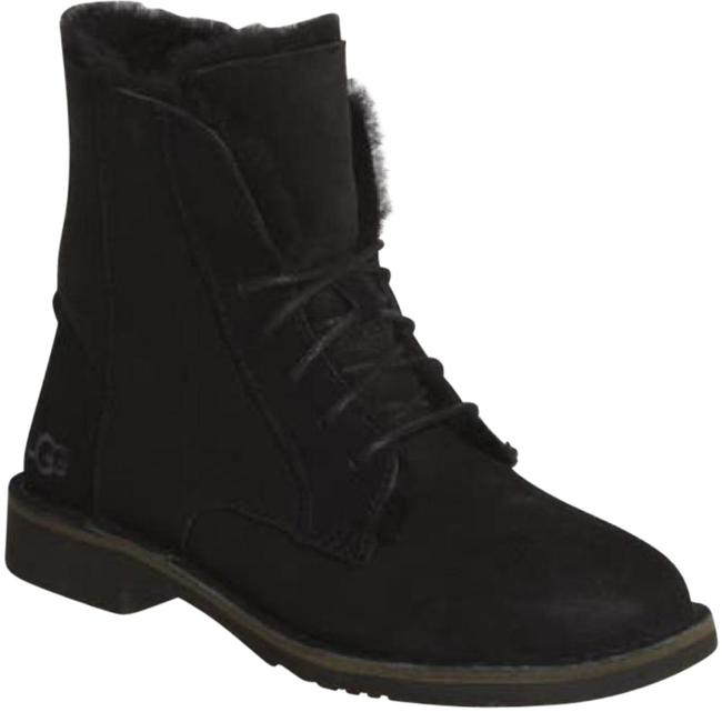 Item - Black Quincy Lace Up Shearling Fold Over Short Boots/Booties Size US 8.5 Regular (M, B)