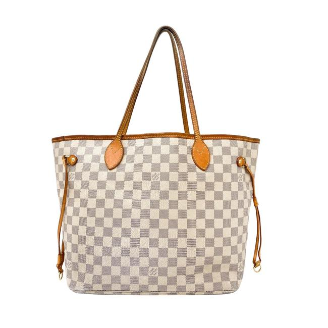 Item - Neverfull Neo Mm White Damier Azur Canvas Tote