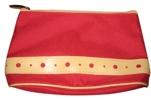 Lancome red w/tan design makeup bag