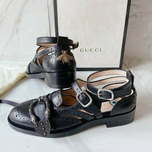 Gucci Black Dionysus Queercore Lifford Brogue Monk Embroidered Bee Tiger Sandals Size US 5.5 Regular (M, B)