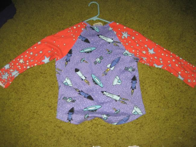 edmc Out Of This World Lisa Klein Space Ships Cotton Longsleeve T Shirt purple with orange sleeves