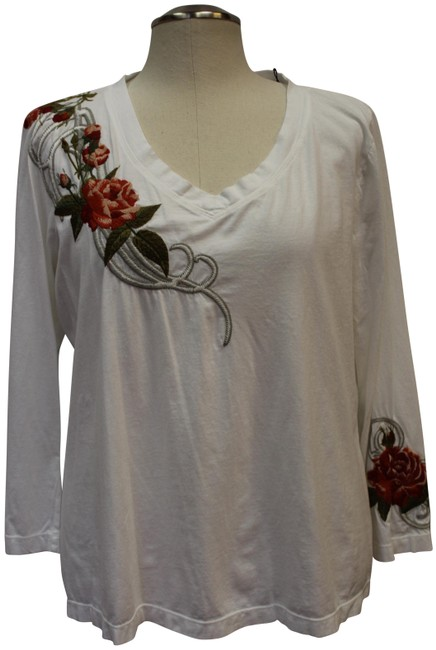 Item - White Embroidered 1x Tunic Size 22 (Plus 2x)