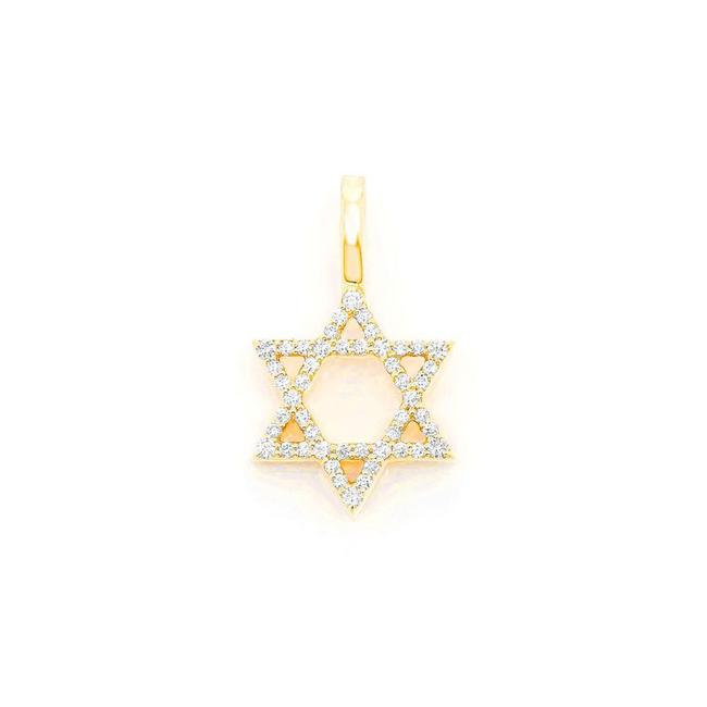 Item - 14k Yellow Gold 0.30ct Star Of David Pendant In Necklace