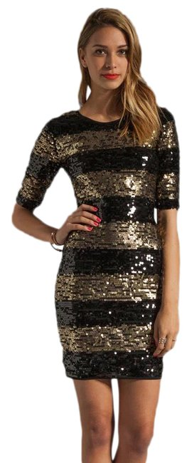 Item - Black and Gold Mid-length Cocktail Dress Size 6 (S)
