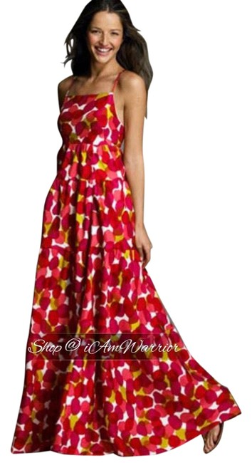 Item - Red Pink Yellow White Collection Silk Abstract Print Long Casual Maxi Dress Size 8 (M)