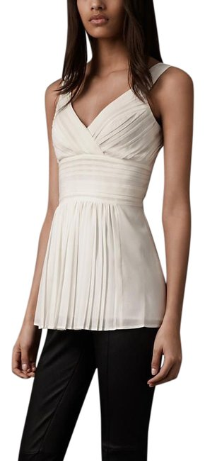 Item - Natural White Pleated Front Silk Us8 Tunic Size 8 (M)